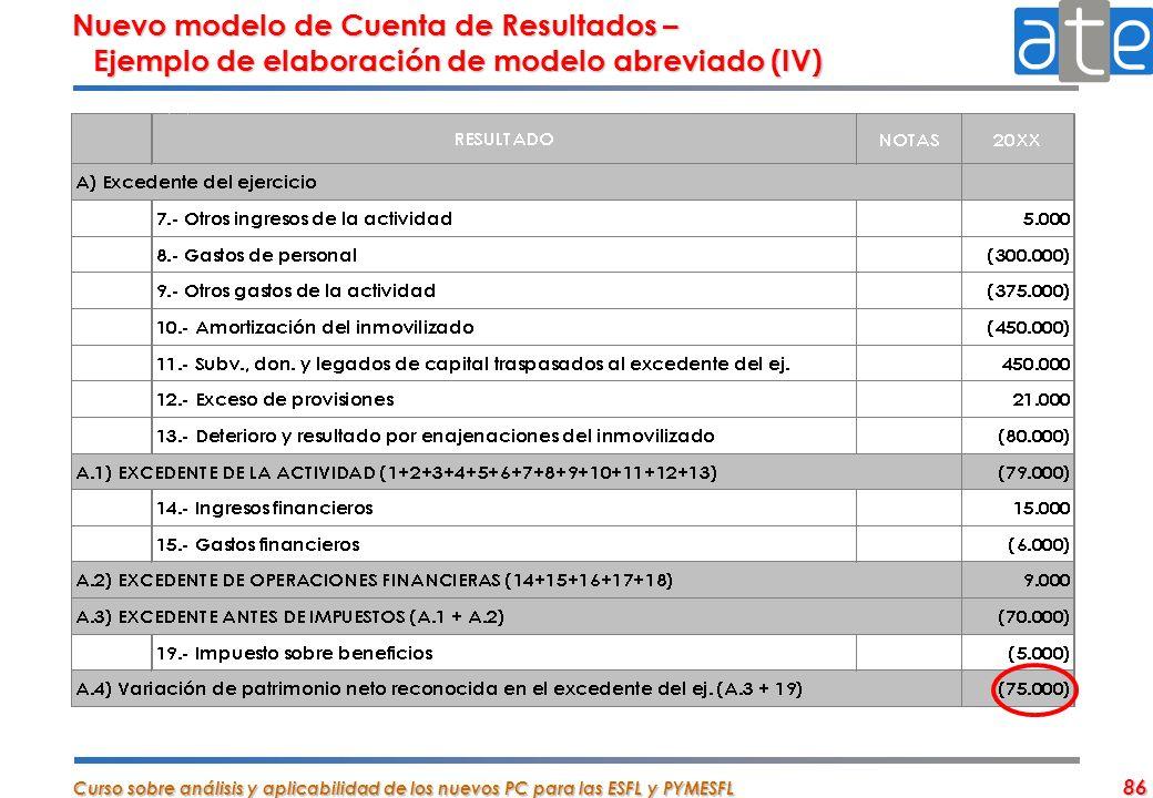 Curso sobre análisis y aplicabilidad de los nuevos PC para las ESFL y PYMESFL 86 Nuevo modelo de Cuenta de Resultados – Ejemplo de elaboración de mode