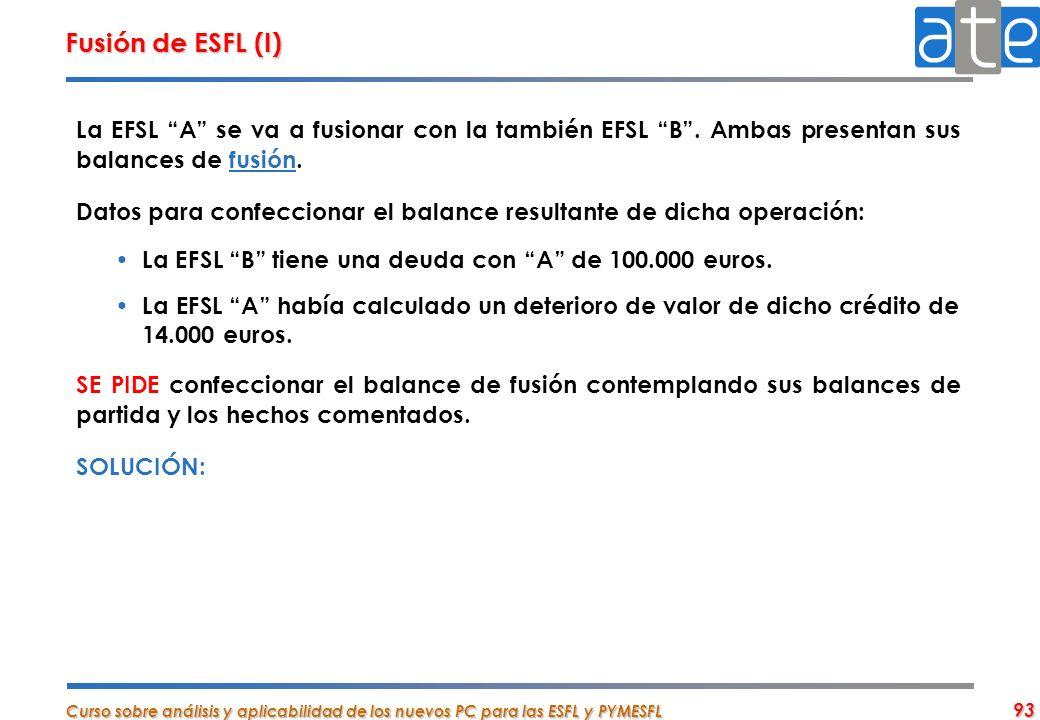 Curso sobre análisis y aplicabilidad de los nuevos PC para las ESFL y PYMESFL 93 Fusión de ESFL (I) La EFSL A se va a fusionar con la también EFSL B.