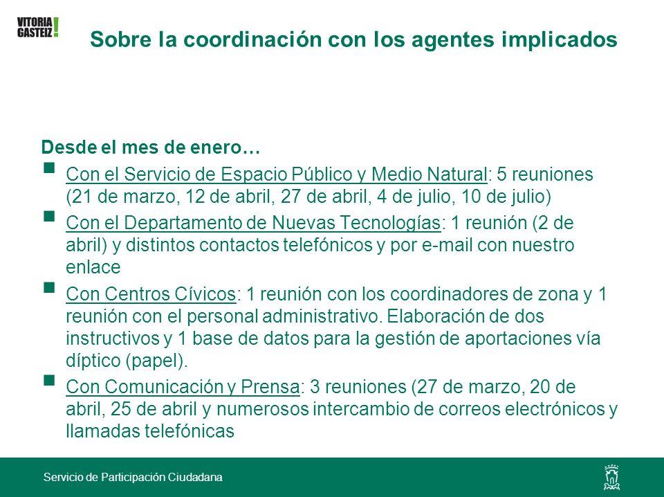 Servicio de Participación Ciudadana Sobre la coordinación con los agentes implicados Desde el mes de enero… Con el Servicio de Espacio Público y Medio