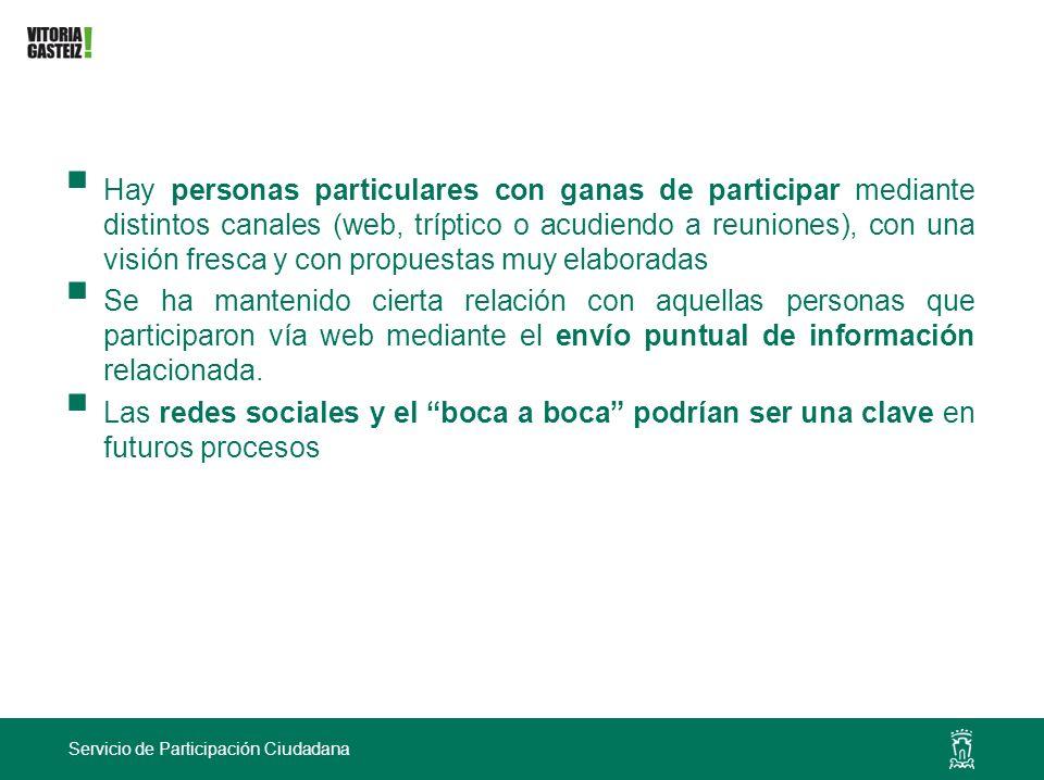Servicio de Participación Ciudadana Hay personas particulares con ganas de participar mediante distintos canales (web, tríptico o acudiendo a reunione