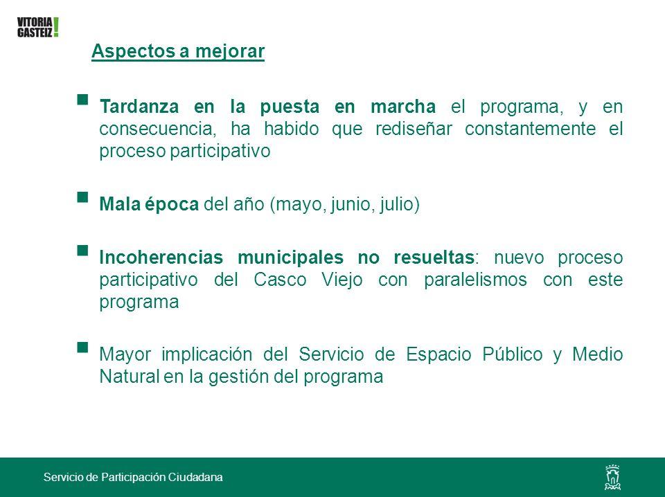 Servicio de Participación Ciudadana Aspectos a mejorar Tardanza en la puesta en marcha el programa, y en consecuencia, ha habido que rediseñar constan