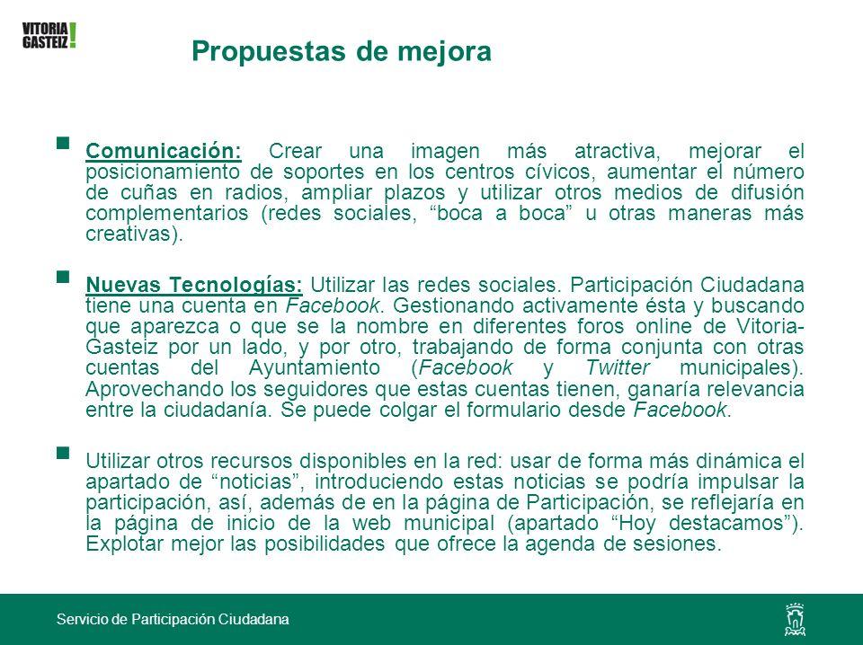 Servicio de Participación Ciudadana Propuestas de mejora Comunicación: Crear una imagen más atractiva, mejorar el posicionamiento de soportes en los c