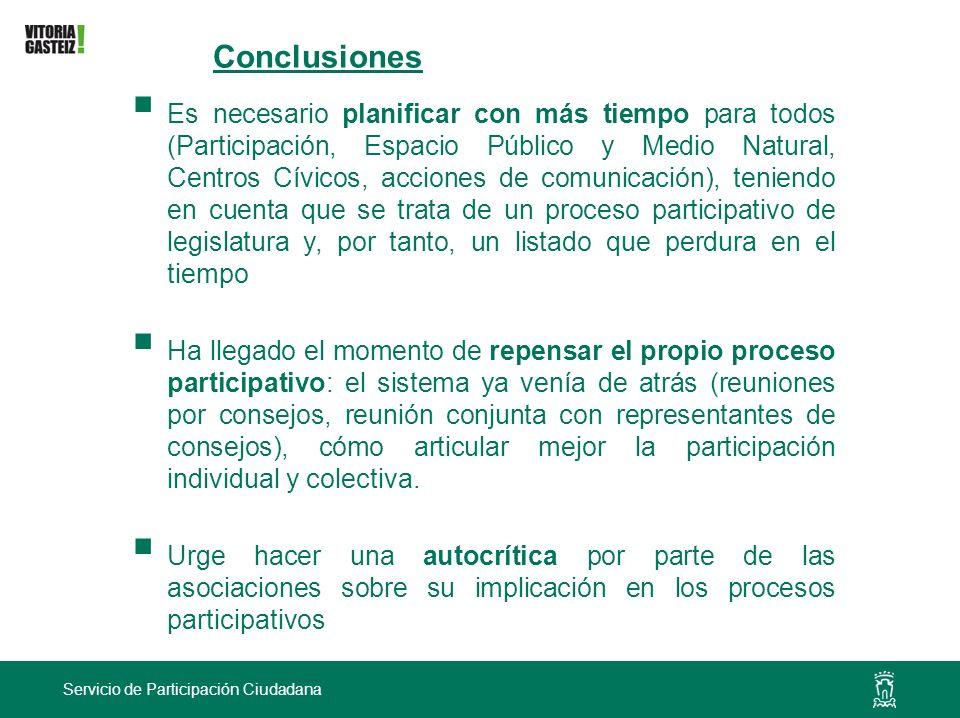Servicio de Participación Ciudadana Conclusiones Es necesario planificar con más tiempo para todos (Participación, Espacio Público y Medio Natural, Ce