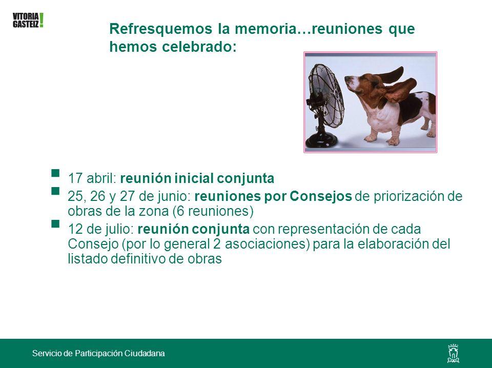 Servicio de Participación Ciudadana Refresquemos la memoria…reuniones que hemos celebrado: 17 abril: reunión inicial conjunta 25, 26 y 27 de junio: re