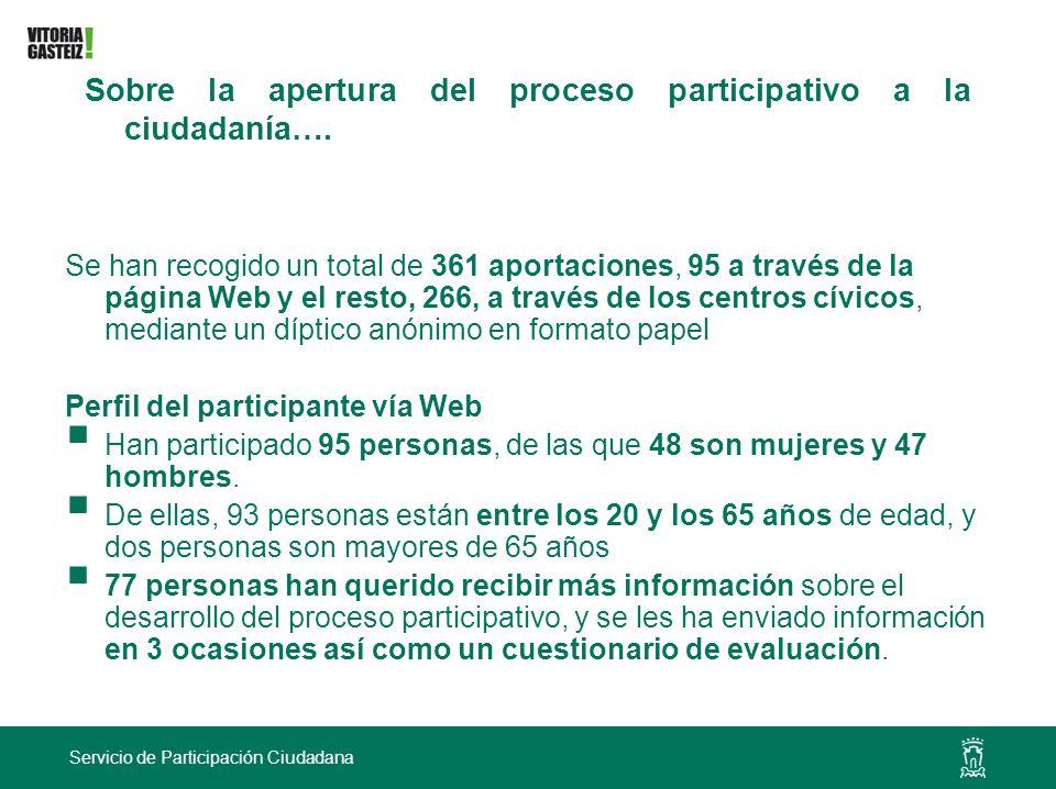 Servicio de Participación Ciudadana Se han recogido un total de 361 aportaciones, 95 a través de la página Web y el resto, 266, a través de los centro
