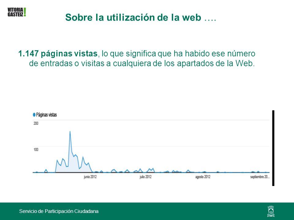 Servicio de Participación Ciudadana Sobre la utilización de la web …. 1.147 páginas vistas, lo que significa que ha habido ese número de entradas o vi