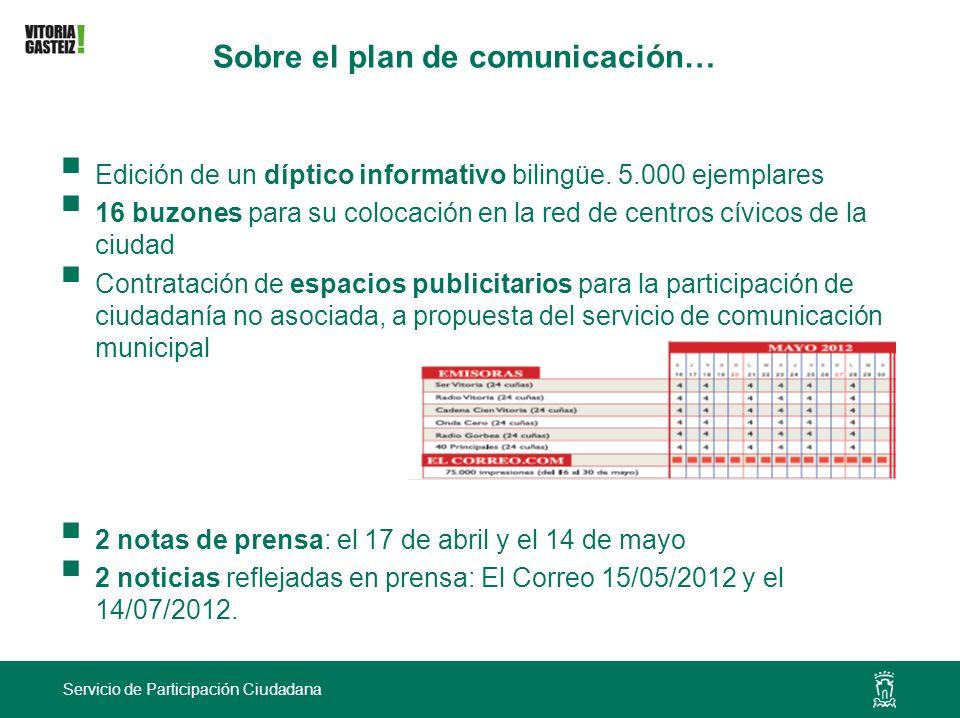 Servicio de Participación Ciudadana Sobre el plan de comunicación… Edición de un díptico informativo bilingüe. 5.000 ejemplares 16 buzones para su col