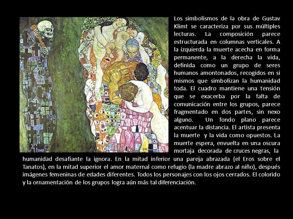 Los simbolismos de la obra de Gustav Klimt se caracteriza por sus múltiples lecturas. La composición parece estructurada en columnas verticales. A la
