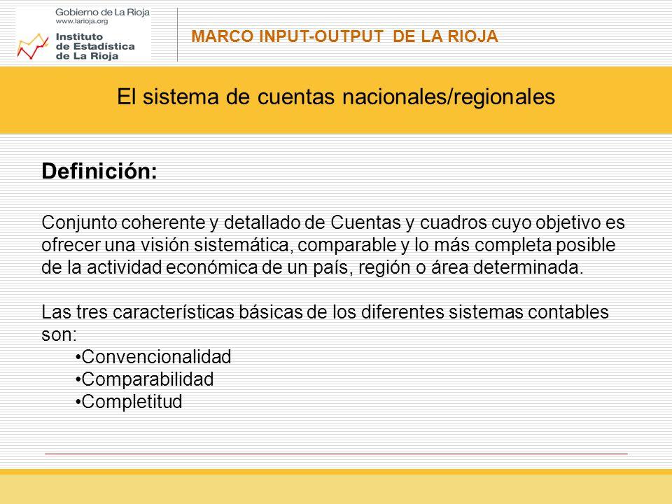 MARCO INPUT-OUTPUT DE LA RIOJA Definición: Conjunto coherente y detallado de Cuentas y cuadros cuyo objetivo es ofrecer una visión sistemática, comparable y lo más completa posible de la actividad económica de un país, región o área determinada.