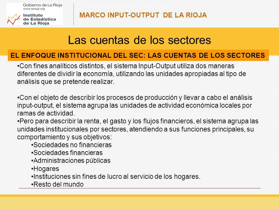 MARCO INPUT-OUTPUT DE LA RIOJA Con fines analíticos distintos, el sistema Input-Output utiliza dos maneras diferentes de dividir la economía, utilizando las unidades apropiadas al tipo de análisis que se pretende realizar.