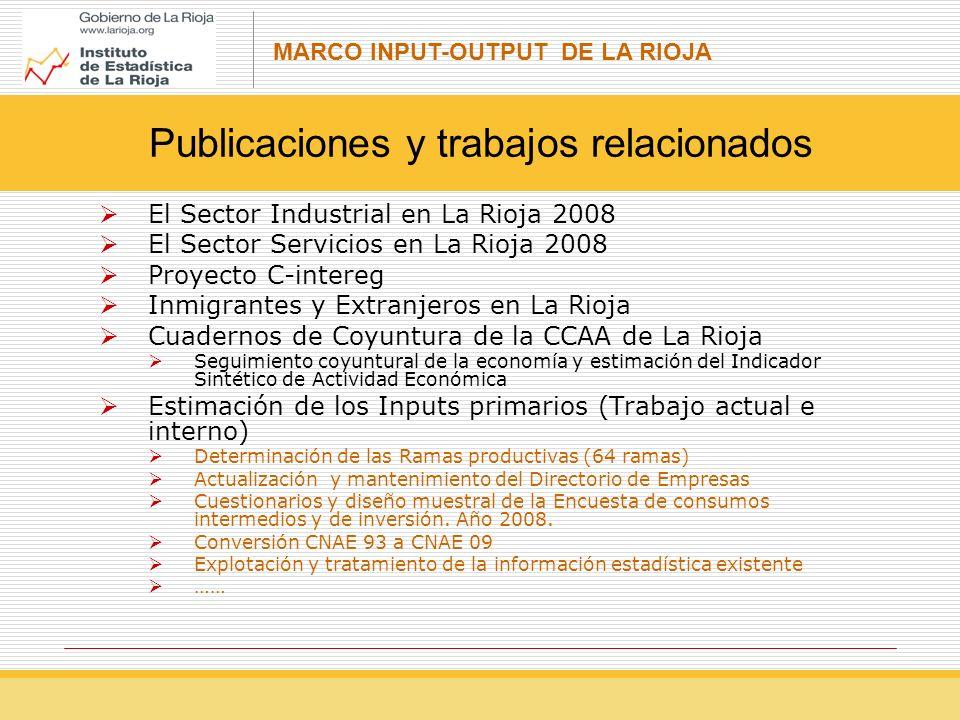 MARCO INPUT-OUTPUT DE LA RIOJA El Sector Industrial en La Rioja 2008 El Sector Servicios en La Rioja 2008 Proyecto C-intereg Inmigrantes y Extranjeros en La Rioja Cuadernos de Coyuntura de la CCAA de La Rioja Seguimiento coyuntural de la economía y estimación del Indicador Sintético de Actividad Económica Estimación de los Inputs primarios (Trabajo actual e interno) Determinación de las Ramas productivas (64 ramas) Actualización y mantenimiento del Directorio de Empresas Cuestionarios y diseño muestral de la Encuesta de consumos intermedios y de inversión.