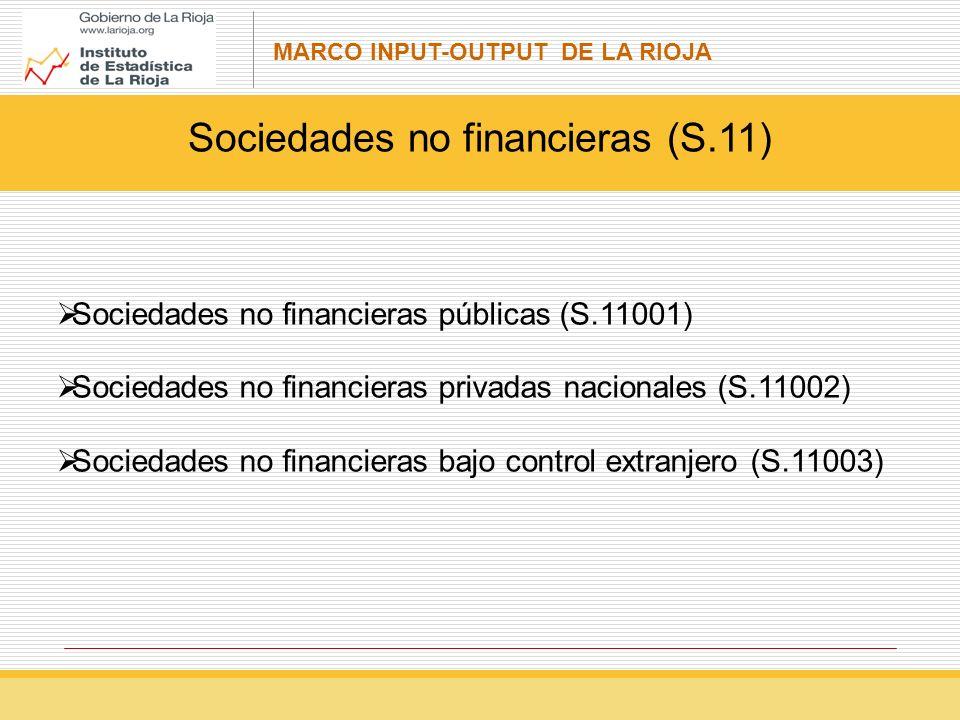 MARCO INPUT-OUTPUT DE LA RIOJA Sociedades no financieras (S.11) Sociedades no financieras públicas (S.11001) Sociedades no financieras privadas nacionales (S.11002) Sociedades no financieras bajo control extranjero (S.11003)