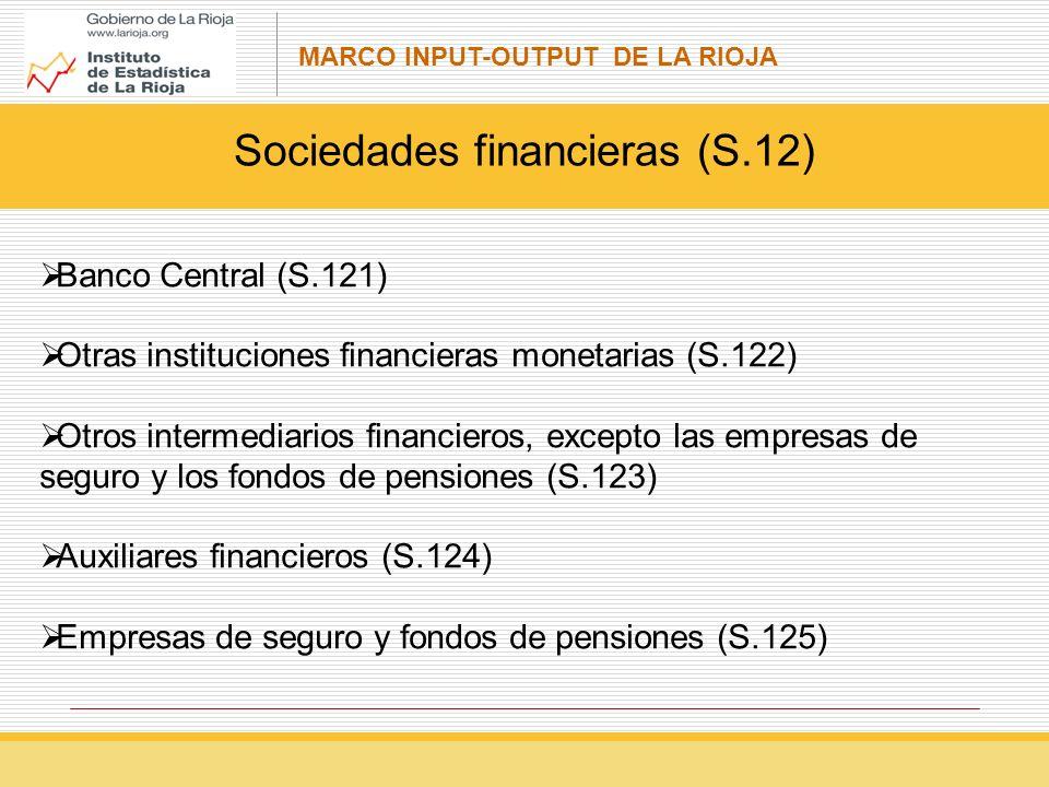 MARCO INPUT-OUTPUT DE LA RIOJA Sociedades financieras (S.12) Banco Central (S.121) Otras instituciones financieras monetarias (S.122) Otros intermediarios financieros, excepto las empresas de seguro y los fondos de pensiones (S.123) Auxiliares financieros (S.124) Empresas de seguro y fondos de pensiones (S.125)