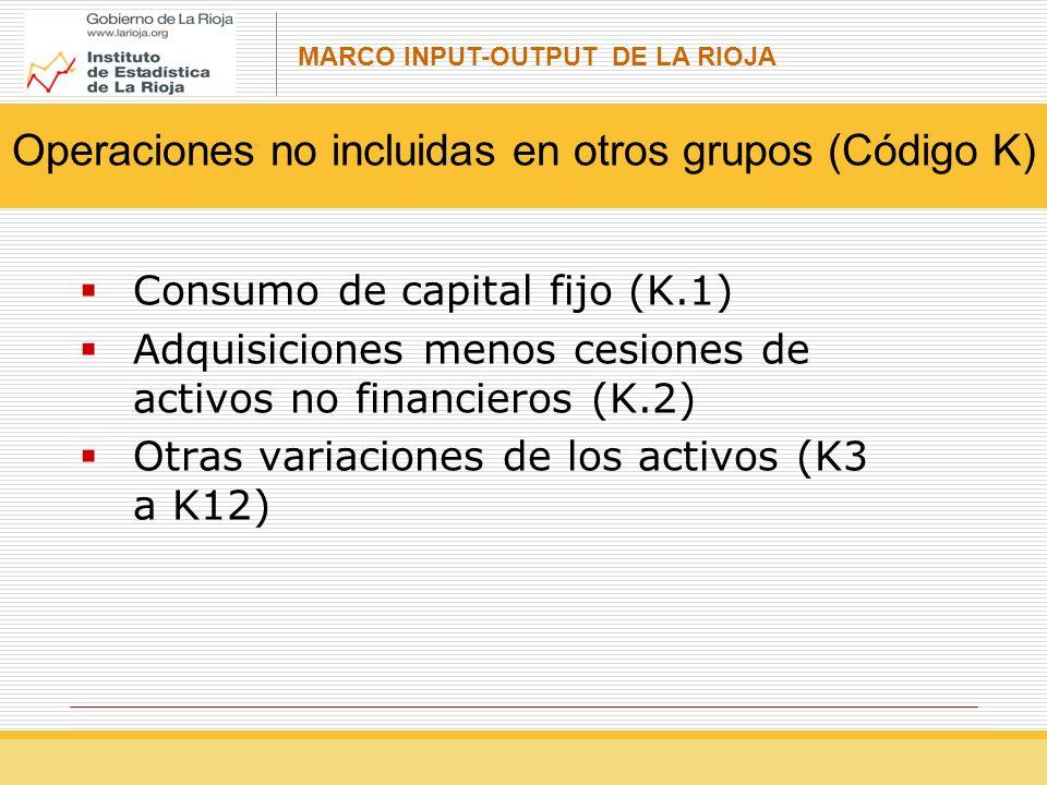 MARCO INPUT-OUTPUT DE LA RIOJA Consumo de capital fijo (K.1) Adquisiciones menos cesiones de activos no financieros (K.2) Otras variaciones de los activos (K3 a K12) Operaciones no incluidas en otros grupos (Código K)