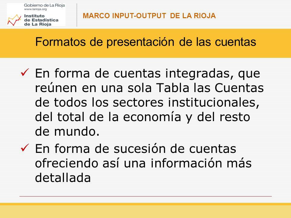 MARCO INPUT-OUTPUT DE LA RIOJA En forma de cuentas integradas, que reúnen en una sola Tabla las Cuentas de todos los sectores institucionales, del total de la economía y del resto de mundo.