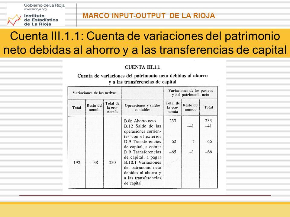 MARCO INPUT-OUTPUT DE LA RIOJA Cuenta III.1.1: Cuenta de variaciones del patrimonio neto debidas al ahorro y a las transferencias de capital