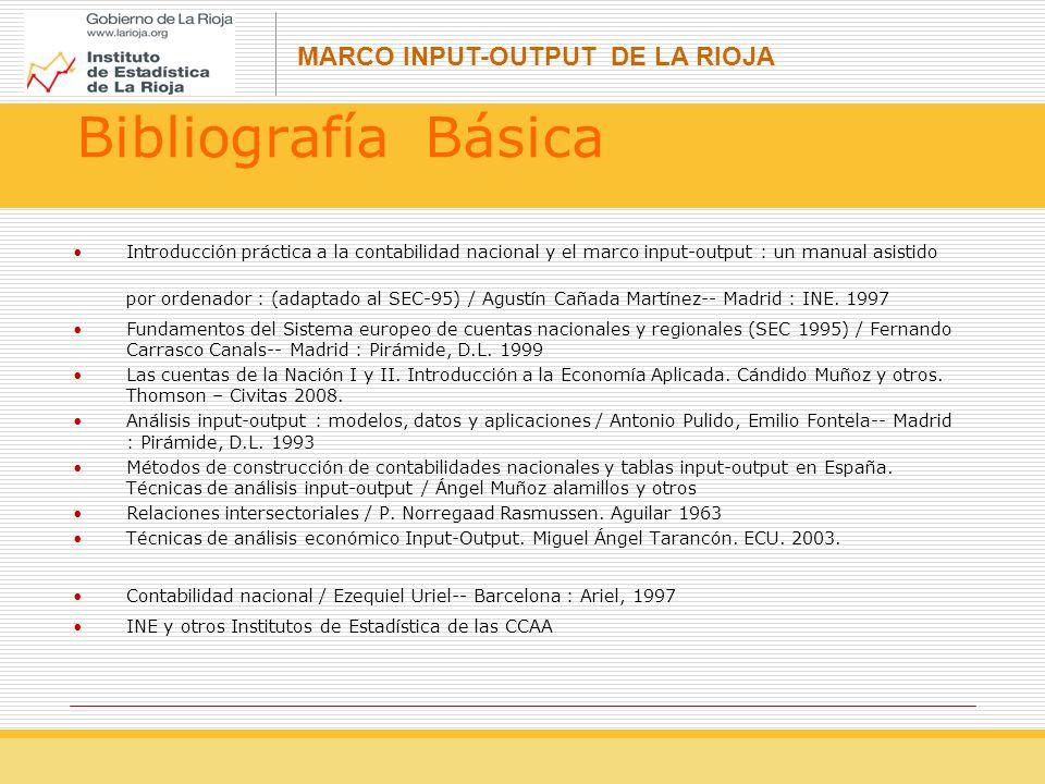 MARCO INPUT-OUTPUT DE LA RIOJA Bibliografía Básica Introducción práctica a la contabilidad nacional y el marco input-output : un manual asistido por ordenador : (adaptado al SEC-95) / Agustín Cañada Martínez-- Madrid : INE.