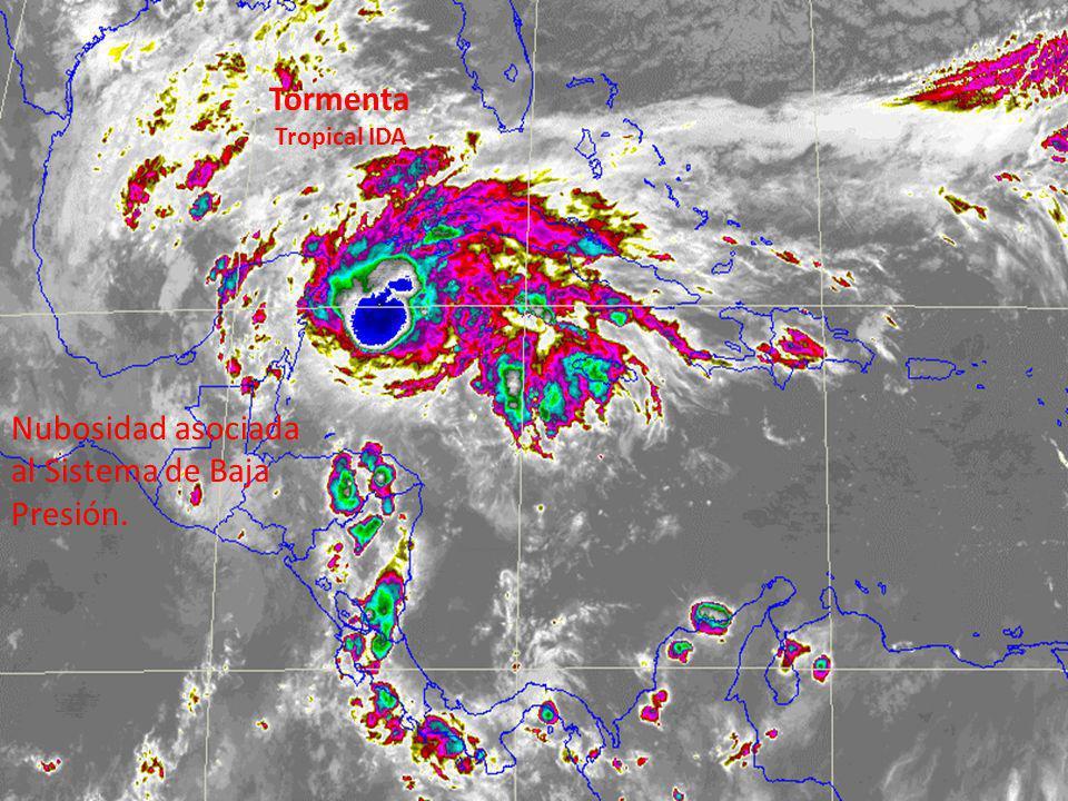 Nubosidad asociada al Sistema de Baja Presión. Tormenta Tropical IDA