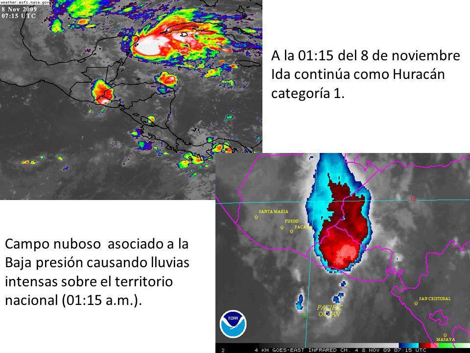 Campo nuboso asociado a la Baja presión causando lluvias intensas sobre el territorio nacional (01:15 a.m.).