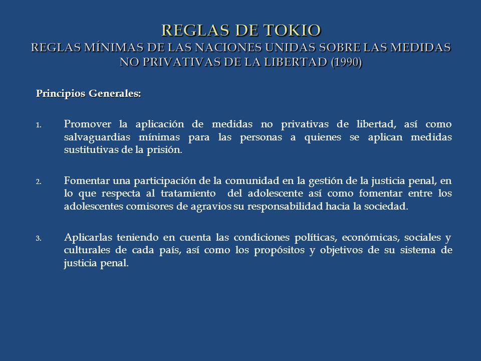 REGLAS DE TOKIO REGLAS MÍNIMAS DE LAS NACIONES UNIDAS SOBRE LAS MEDIDAS NO PRIVATIVAS DE LA LIBERTAD (1990) Principios Generales: 1.