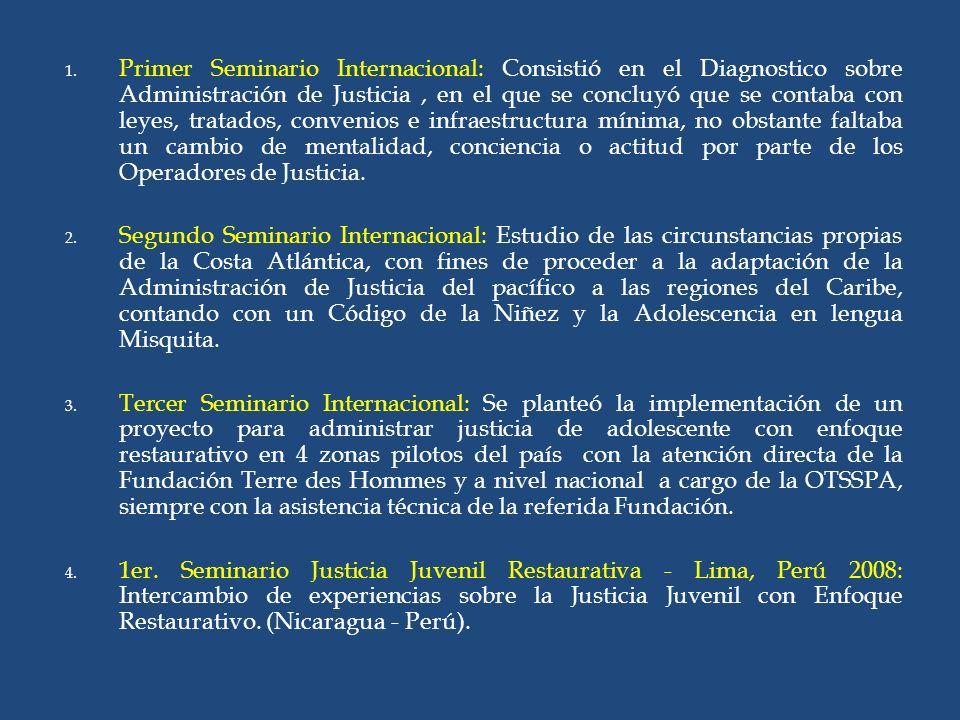 1. Primer Seminario Internacional: Consistió en el Diagnostico sobre Administración de Justicia, en el que se concluyó que se contaba con leyes, trata
