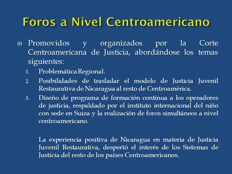 Promovidos y organizados por la Corte Centroamericana de Justicia, abordándose los temas siguientes: 1.