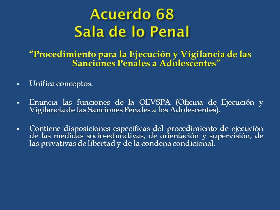 Procedimiento para la Ejecución y Vigilancia de las Sanciones Penales a Adolescentes Unifica conceptos.