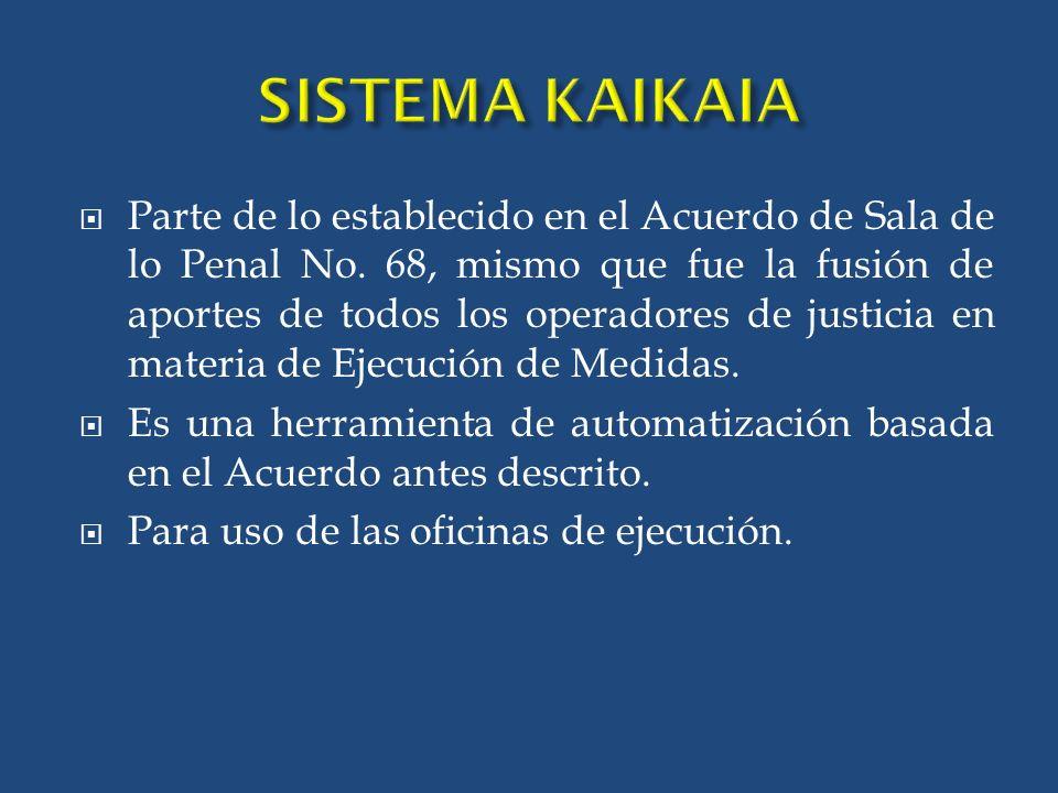 SISTEMA KAIKAIA Parte de lo establecido en el Acuerdo de Sala de lo Penal No.