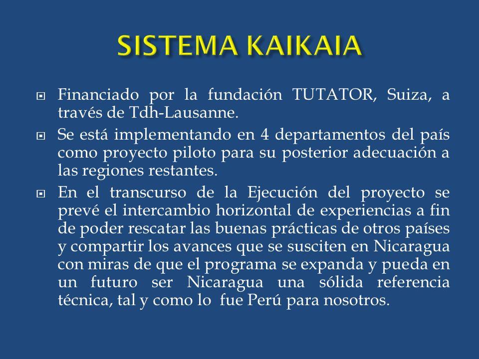 SISTEMA KAIKAIA Financiado por la fundación TUTATOR, Suiza, a través de Tdh-Lausanne.