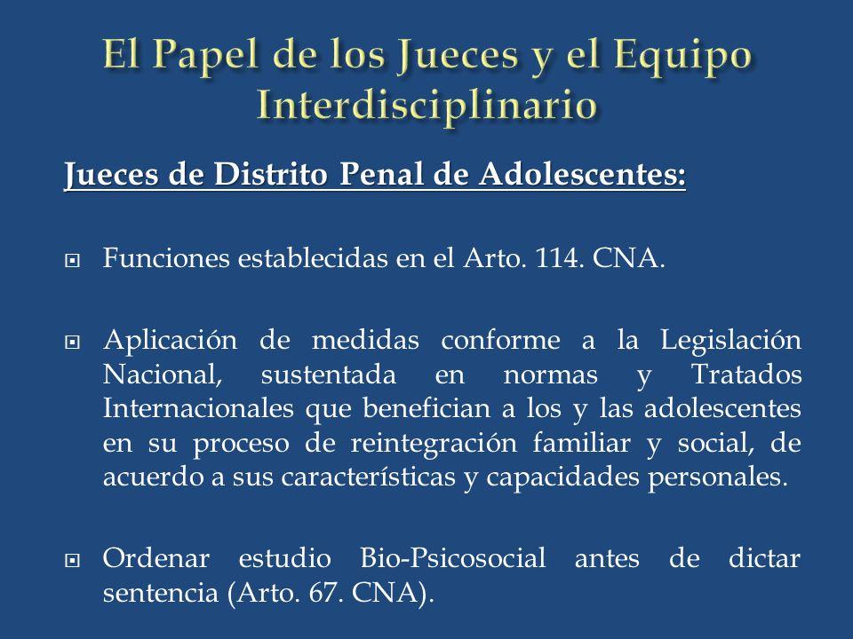 Jueces de Distrito Penal de Adolescentes: Funciones establecidas en el Arto.