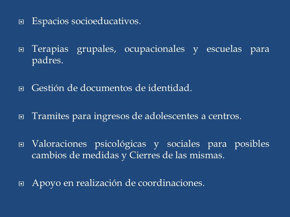 Espacios socioeducativos.Terapias grupales, ocupacionales y escuelas para padres.