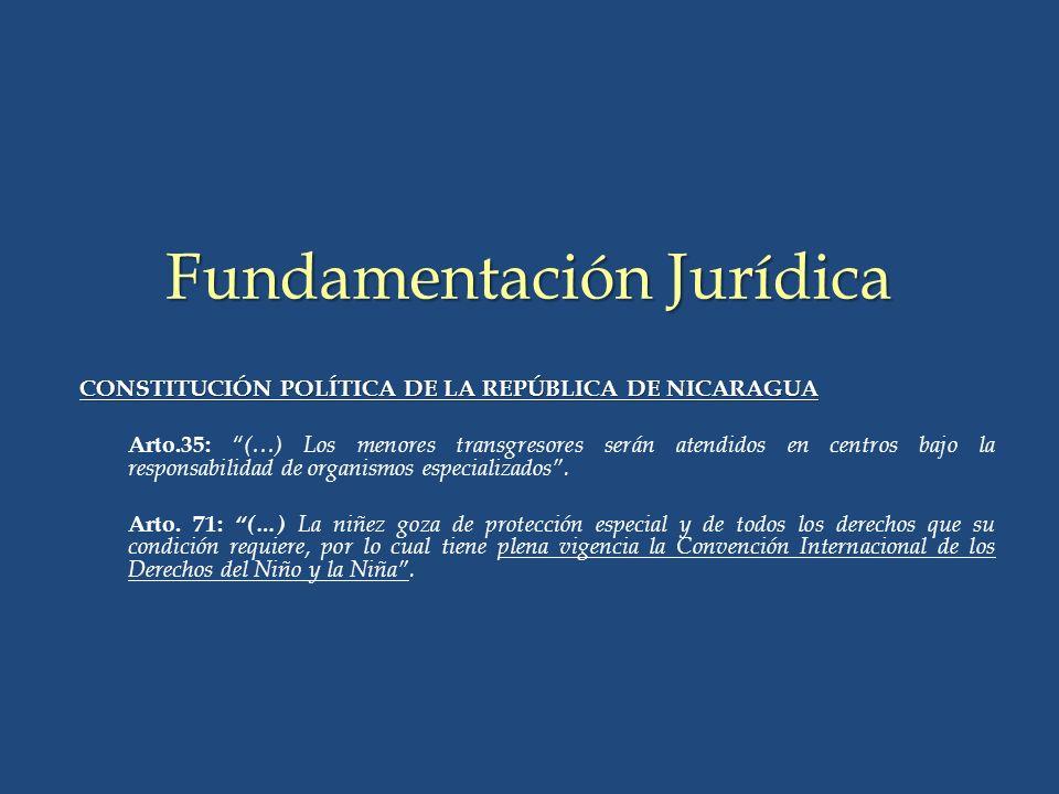 CONSTITUCIÓN POLÍTICA DE LA REPÚBLICA DE NICARAGUA Arto.35: (…) Los menores transgresores serán atendidos en centros bajo la responsabilidad de organismos especializados.
