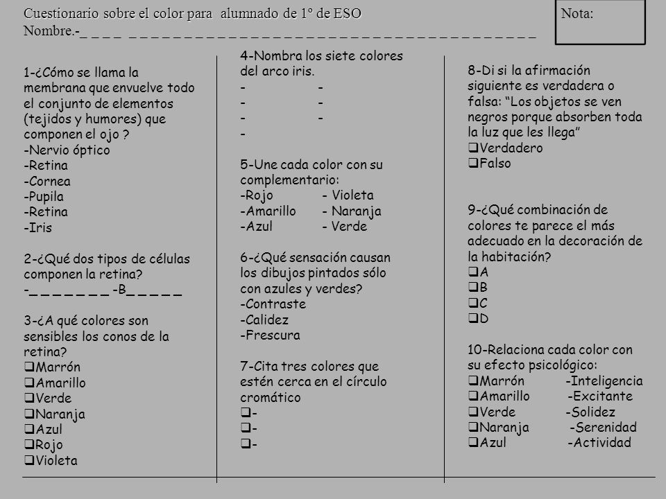 Universales propuestos (basados en este estudio) Todas lenguas tienen nombres para blanco y negro (o claro y oscuro) Si tiene 3, entonces tiene rojo.