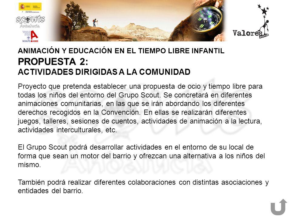 ANIMACIÓN Y EDUCACIÓN EN EL TIEMPO LIBRE INFANTIL PROPUESTA 2: ACTIVIDADES DIRIGIDAS A LA COMUNIDAD Proyecto que pretenda establecer una propuesta de