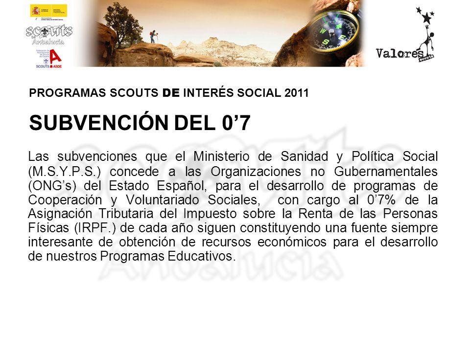 SUBVENCIÓN DEL 07 Las subvenciones que el Ministerio de Sanidad y Política Social (M.S.Y.P.S.) concede a las Organizaciones no Gubernamentales (ONGs)