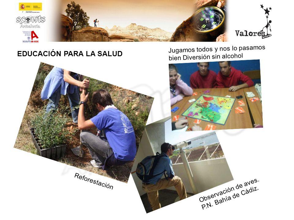 EDUCACIÓN PARA LA SALUD Observación de aves. P.N. Bahía de Cádiz. Jugamos todos y nos lo pasamos bien Diversión sin alcohol Reforestación