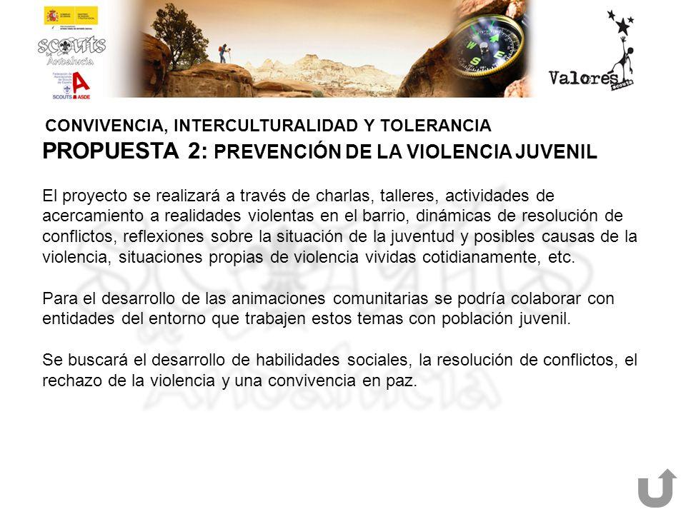 CONVIVENCIA, INTERCULTURALIDAD Y TOLERANCIA PROPUESTA 2: PREVENCIÓN DE LA VIOLENCIA JUVENIL El proyecto se realizará a través de charlas, talleres, ac