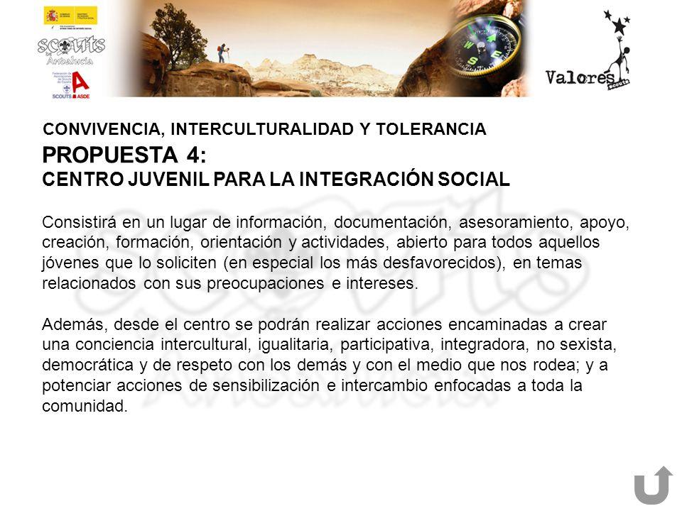 CONVIVENCIA, INTERCULTURALIDAD Y TOLERANCIA PROPUESTA 4: CENTRO JUVENIL PARA LA INTEGRACIÓN SOCIAL Consistirá en un lugar de información, documentació