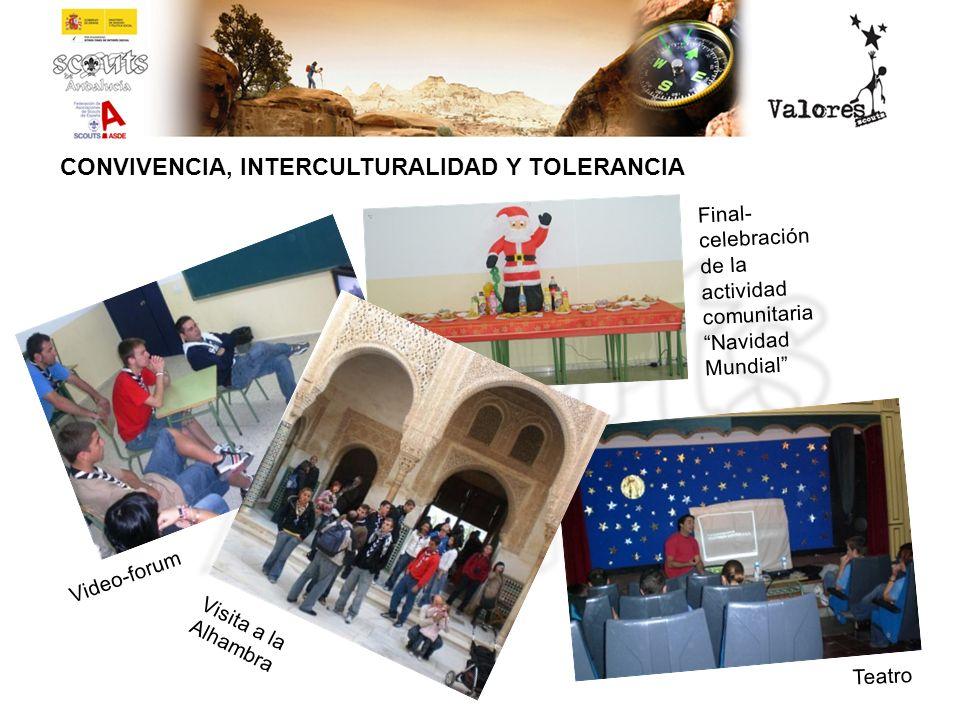 CONVIVENCIA, INTERCULTURALIDAD Y TOLERANCIA Video-forum Teatro Visita a la Alhambra Final- celebración de la actividad comunitaria Navidad Mundial