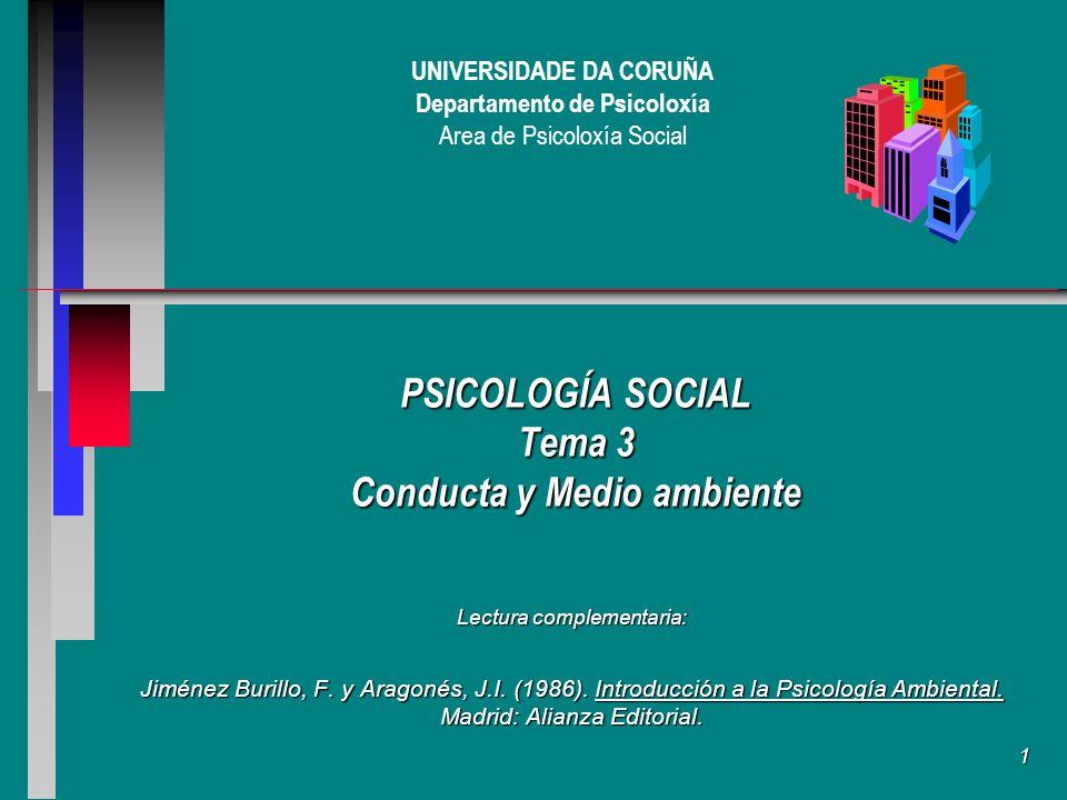 1 UNIVERSIDADE DA CORUÑA Departamento de Psicoloxía Area de Psicoloxía Social PSICOLOGÍA SOCIAL Tema 3 Conducta y Medio ambiente Lectura complementaria: Jiménez Burillo, F.