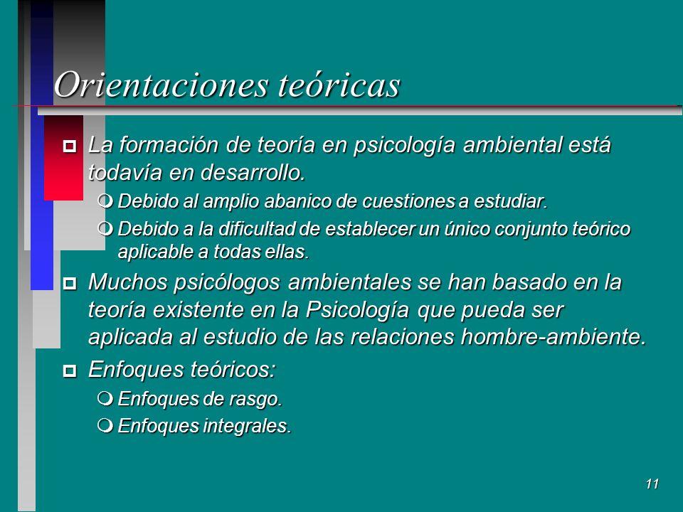 11 Orientaciones teóricas p La formación de teoría en psicología ambiental está todavía en desarrollo.
