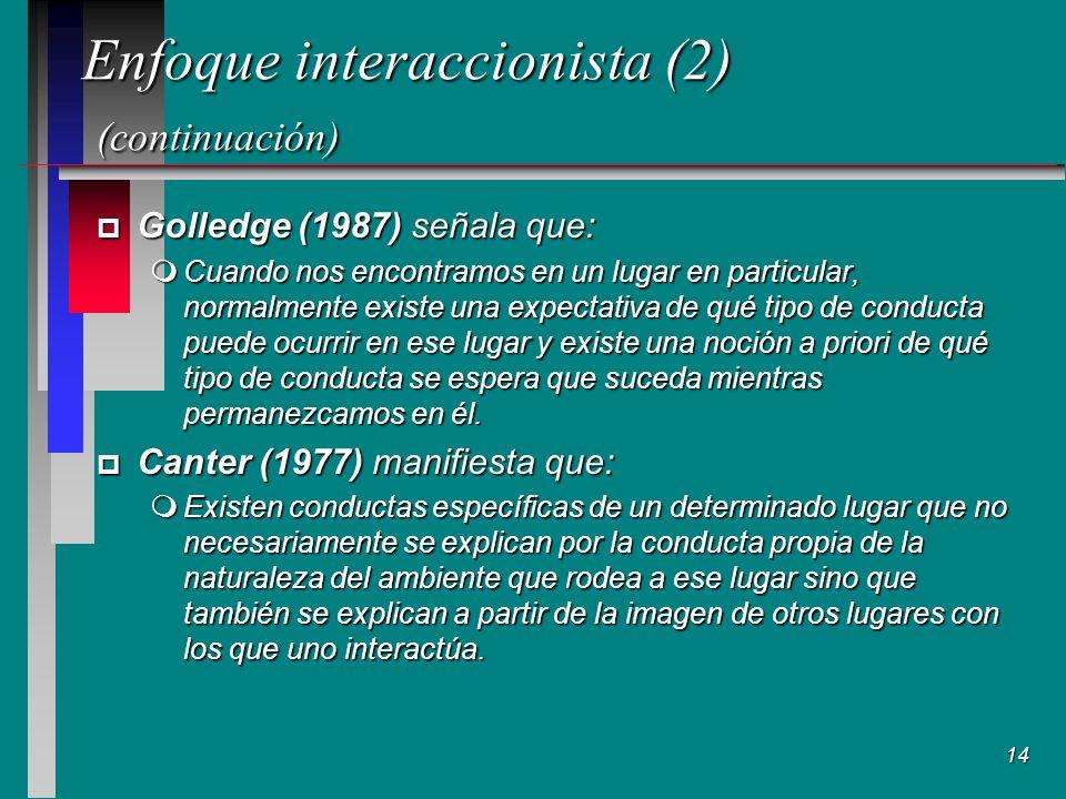 14 Enfoque interaccionista (2) (continuación) p Golledge (1987) señala que: mCuando nos encontramos en un lugar en particular, normalmente existe una expectativa de qué tipo de conducta puede ocurrir en ese lugar y existe una noción a priori de qué tipo de conducta se espera que suceda mientras permanezcamos en él.