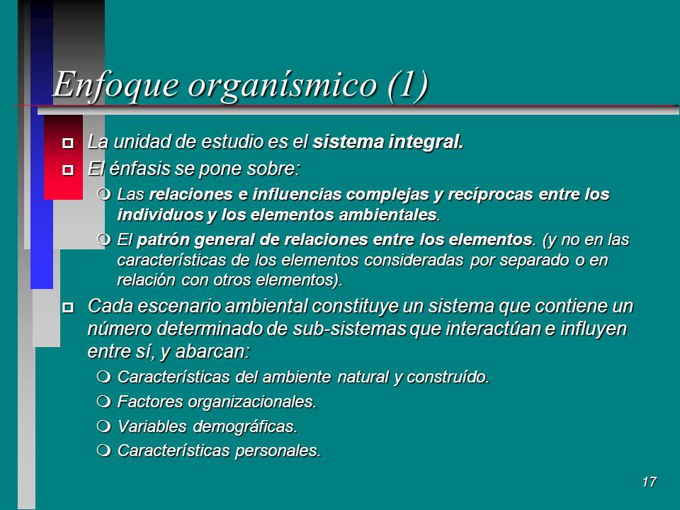 17 Enfoque organísmico (1) p La unidad de estudio es el sistema integral.