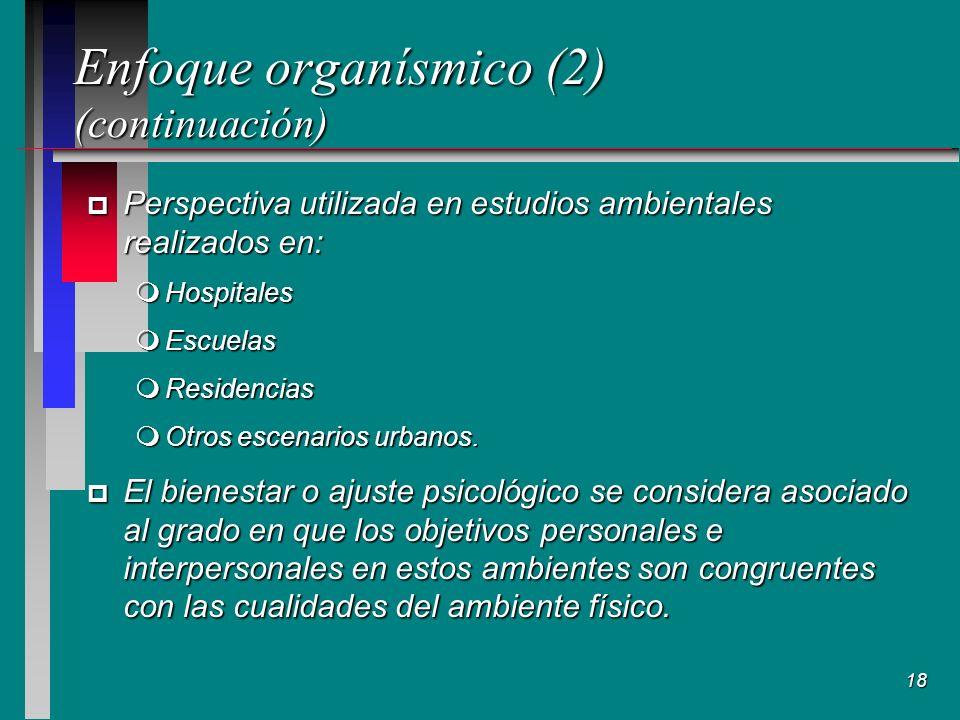 18 Enfoque organísmico (2) (continuación) p Perspectiva utilizada en estudios ambientales realizados en: mHospitales mEscuelas mResidencias mOtros escenarios urbanos.