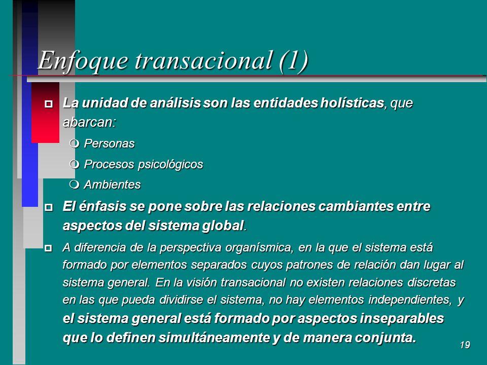 19 Enfoque transacional (1) p La unidad de análisis son las entidades holísticas, que abarcan: mPersonas mProcesos psicológicos mAmbientes p El énfasis se pone sobre las relaciones cambiantes entre aspectos del sistema global.