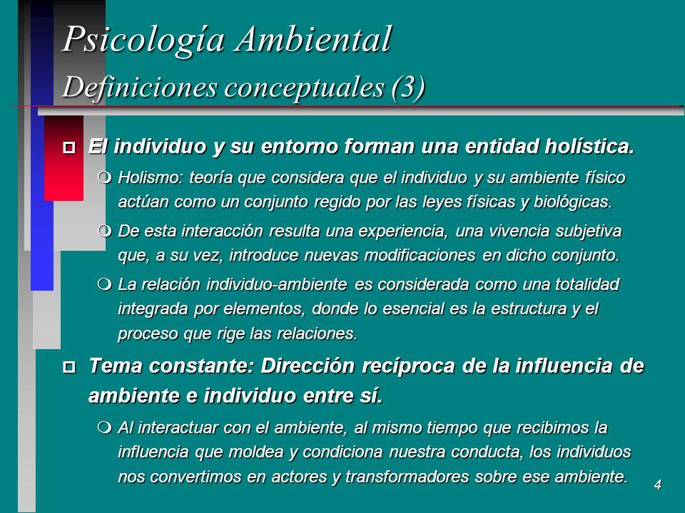 4 Psicología Ambiental Definiciones conceptuales (3) Psicología Ambiental Definiciones conceptuales (3) p El individuo y su entorno forman una entidad holística.