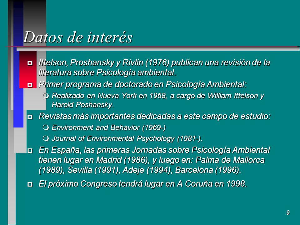 9 Datos de interés p Ittelson, Proshansky y Rivlin (1976) publican una revisión de la literatura sobre Psicología ambiental.