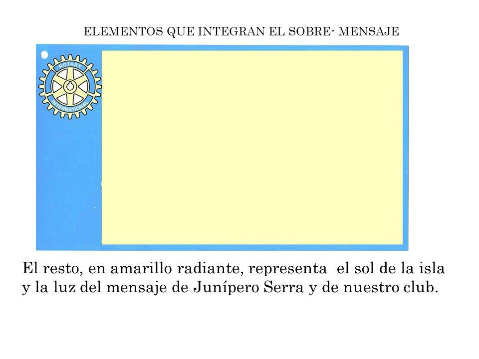 ELEMENTOS QUE INTEGRAN EL SOBRE- MENSAJE Mensaje de servicio de nuestro club Junípero Serra que sale de nuestra ciudad de Palma, como así indica el matasellos, con las ondulaciones propias de nuestro mar mediterráneo.