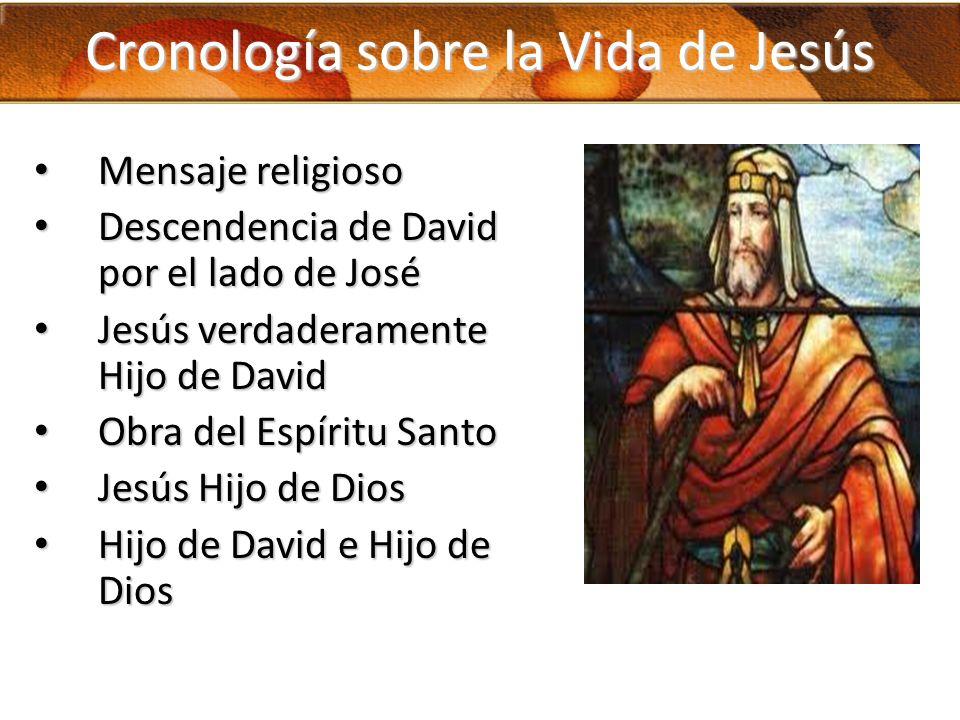 Cronología sobre la Vida de Jesús Mensaje religioso Mensaje religioso Descendencia de David por el lado de José Descendencia de David por el lado de J
