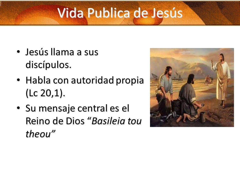 Vida Publica de Jesús Jesús llama a sus discípulos. Jesús llama a sus discípulos. Habla con autoridad propia (Lc 20,1). Habla con autoridad propia (Lc